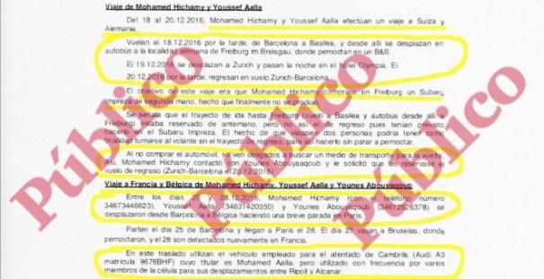 Informe reservado del servicio secreto sobre los viajes en Europa, a finales de 2016, de los autores de los atentados de Barcelona y Cambrils.