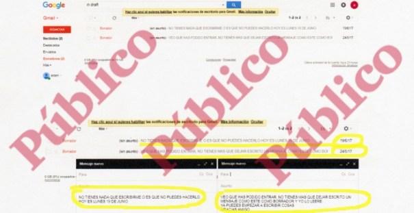 Captura de pantalla de los dos borradores en el 'buzón muerto' de Es Satty, en los que el controlador del CNI le pide que informe.