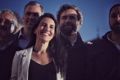 Rocío Monasterio, junto a Iván Espinosa de los Monteros, Ortega Smith y Santiago Abascal. VOX MADRID