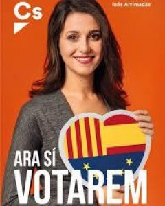 Cartel de campaña de Cs en Catalunya, en 2017.