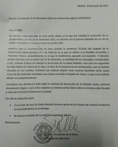 Carta remitida por la Fundación Nacional Francisco Franco