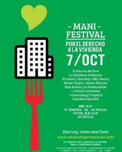 Cartel del festival-manifestación por el derecho a la vivienda de Madrid.