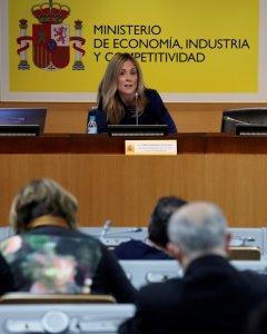 La secretaria general del Tesoro y Política Financiera, Emma Navarro, durante la rueda de prensa que ha ofrecido para explicar el programa de emisiones de deuda para 2018. EFE/ J.J. Guillen
