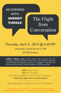 Sherry Turkle to give a talk at The New School poster © The New School