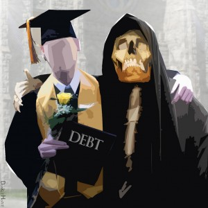 Indentured Student embraced by the Grim Reaper of Debt © DonkeyHotey | Flickr