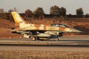 """IAF F-16I Sufa of the 107th Squadron (""""The Knights of the Orange Tail Squadron"""") preparing for take-off during Operation Cast Lead © Yosi Yaari 