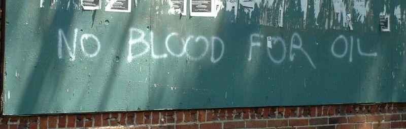 """NO BLOOD FOR OIL"" graffiti, Cleveland, 2000 © Jeffrey Sugalski   Flickr"