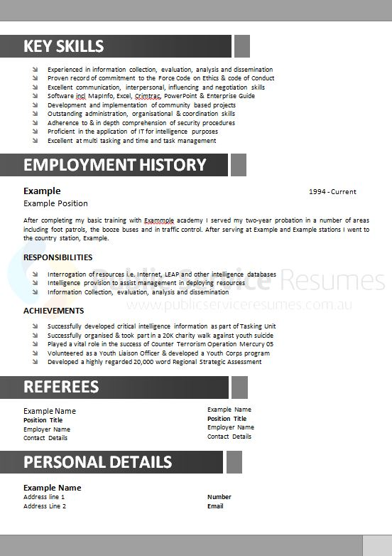 Government Resume Example » Public Service Resumes Free