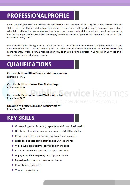 Public Service Resumes » Modern Purple Resume Design » APS
