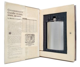 Large Grossman's Guide to Wine Spirits and Beer Secret Hollow Book Safe with Flask