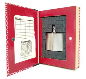 Decorative Secret Hollow Book Safe with Flask