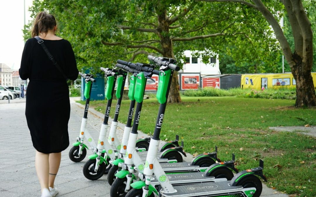 Lime scooters near a park