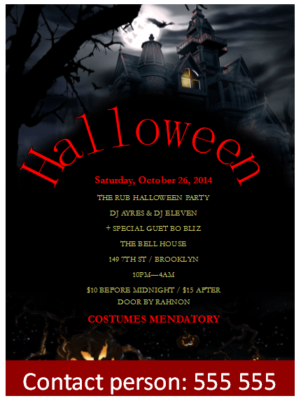 Halloween Flyer Template for Parties – Publisher Flyer Templates