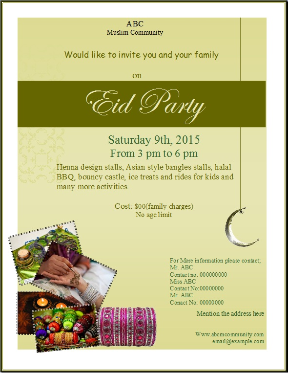 Eid Party Flyer Template Publisher Flyer Templates