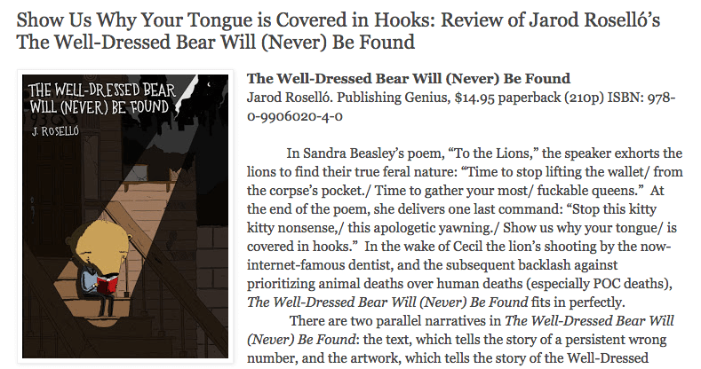 Review of Well-Dressed Bear at The Small Press Book Review