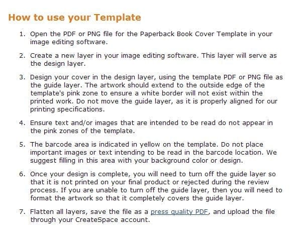 CreateSpace Cover Template Instructions