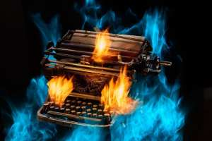 typewriter on fire demonstrates the level of passion and inspiration taught and shared by Deborah S. Nelson at Publishing SOLO to help you with How to publish a book kits