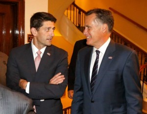 "Former Massachusetts Gov. Mitt Romney, , right and his former vice presidential running mate U.S. Rep. Paul Ryan, R-Wis., arrive for a dinner at the Union Club where Romney will interview Ryan's about Ryan's new book, ""The Way Forward: Renewing the American Idea."" Thursday, Aug. 21, 2014, in Chicago. Ryan is on tour to promote the book as he weighs a presidential campaign of his own. Photo: Charles Rex Arbogast, AP"