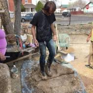 Todd stomping clay