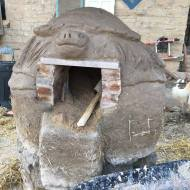 finished turtle clay oven