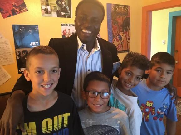 Pastor Ben with Austin, Estephan, Dario and Cole at Pueblo House Radio station 98.5 FM LP