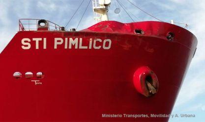 """Daños en la amura y ancla de estribor del petrolero """"STO Pimlico"""""""