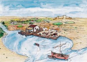 Recreación del embarcadero romano del Tossal de Manises (Cortesía de Arpa Patrimonio)