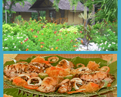 Two photos, cottages nestled among indigenous trees and seafood servings