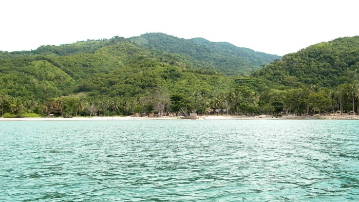photo of ocean in foreground with a strip of beach and wooden cottages engulfed by lush green trees and rolling hills of Palawan island