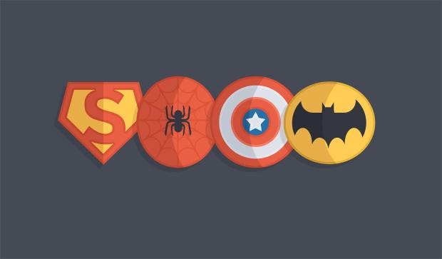 4 Iconos PSD de Super hroes con estilo minimalista