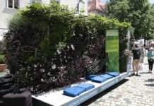 Flacher Anhänger mit Pflanzenrückwand. Sitzkissen im Freibereich des Hängers.
