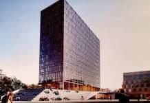 Der Entwurf eines Hotelneubaus, ein Hochhaus mit Glasfassade