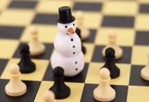 Schneemann im Schachbrett