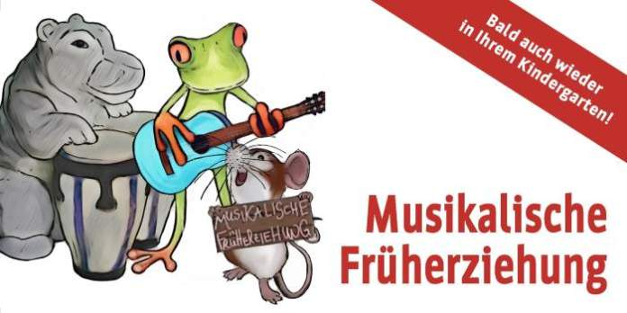 Tiere beim Musizieren und Text