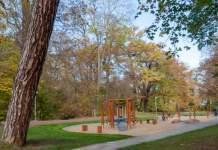 ein Spielplatz inmitten von Bäumen