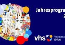 Titelbild des VHS Jahresprogramms 2021. Farbige Collage vom Erfurter Dom mit vielen Blüten.