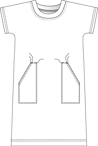Casual T-shirt dress sewing instructions. Sewing step-by-step.