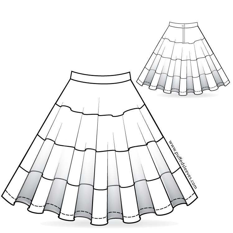 Full circle skirt with colourful bands. Sewing pattern