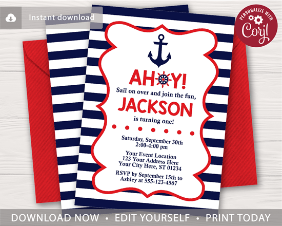 nautical birthday invitation in navy and red