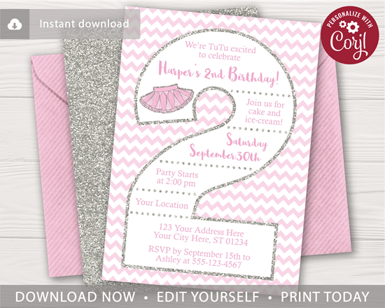 tutu 2nd birthday invitation in pink and silver