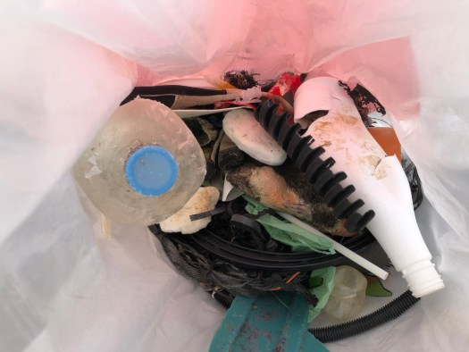 Photo inside bag showing mixture of rubbish