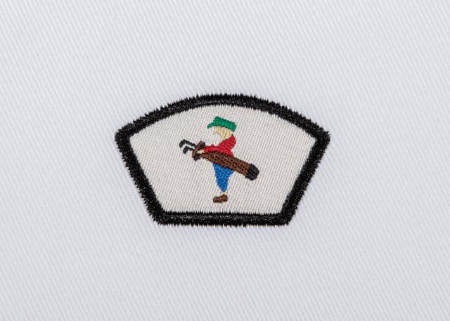 Pukka beanie label shape, trapezoid with satin stitch