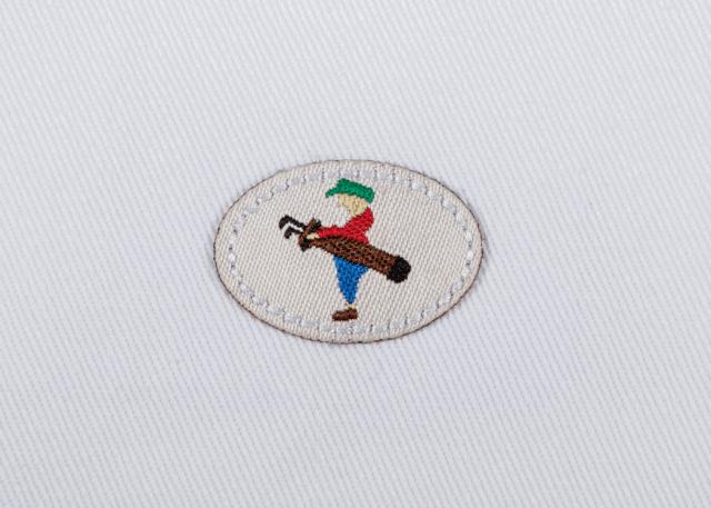 Pukka beanie label shape, oval with jump stitch