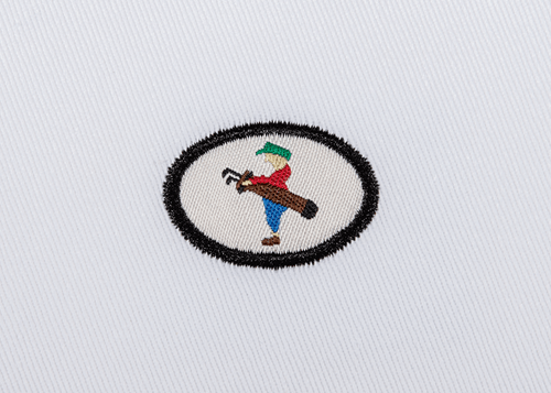 Pukka beanie label shape, oval with satin stitch