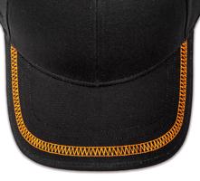 Pukka hat, visor stitching, 4 rows, flat lock stitch, 1 color