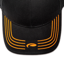 Pukka hat, visor stitching, 4 rows, 4 thick satin stitch with center icon, 1 color