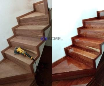 pulido de escaleras de madera