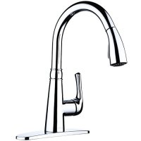 L'Acoqua F202A 1-hole or 3-hole Zinc Alloy with Lead-Free Brass Interior; Pull-down Kitchen Sink Faucet with Deck Plate; Excellent Finish, Nylon Hose, and Coordinating Shape, chrome