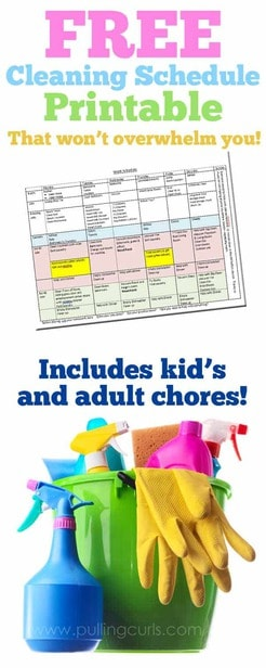 Are you looking to make a weekly cleaning schedule template? This calendar of household chores is a great stay at home mom cleaning schedule printable (great for working moms as well)-- and I even have some charts for cleaning house.  Do NOT miss this 2019 house cleaning schedule!  I think you'll find a lot of benefits -- I know I did! via @pullingcurls