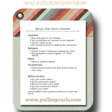 """They're simple. You and I do them every day - - but this after school checklist will helpfully remind my kids what needs to be done when they walk in the door from a long day at the """"office""""."""